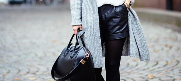 Leather Shorts & Cardigan